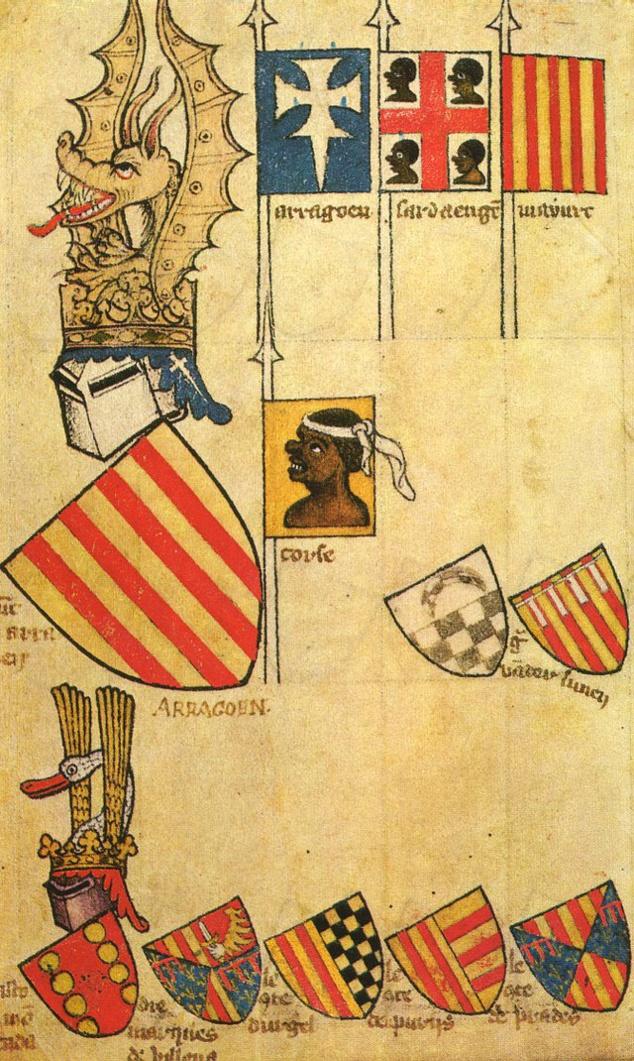 A testa di moru a più antica chì rapresenta a Corsica, cun l'altri pusessi di u reame d'Aragone