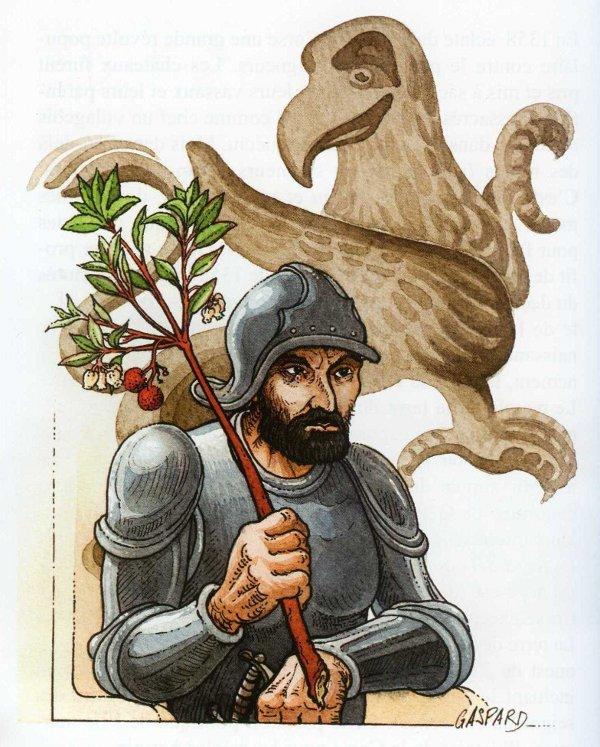 """Vincentellu d'Istria chì tene """"a bachetta"""". Daretu u griffone, sìmbulu di l'Aragone"""