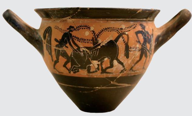 Skyphos à figure nere di u Vu seculu nanz'à Cristu. Héraclès si batte contr'à un toru di l'isula di Creta.
