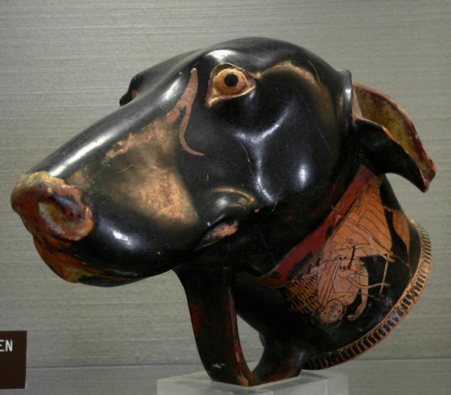 Rhyton in forma di faccia di cane